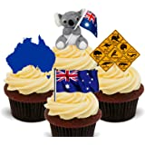 Décorations comestibles pour cupcakes Thème Australie, Pack of 12