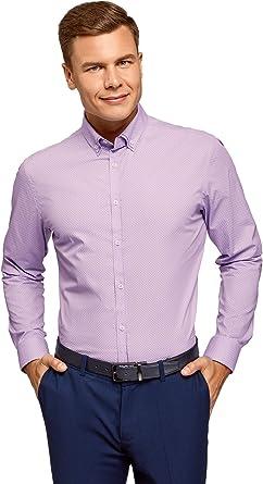 oodji Ultra Hombre Camisa Estampada con Cuello Doble