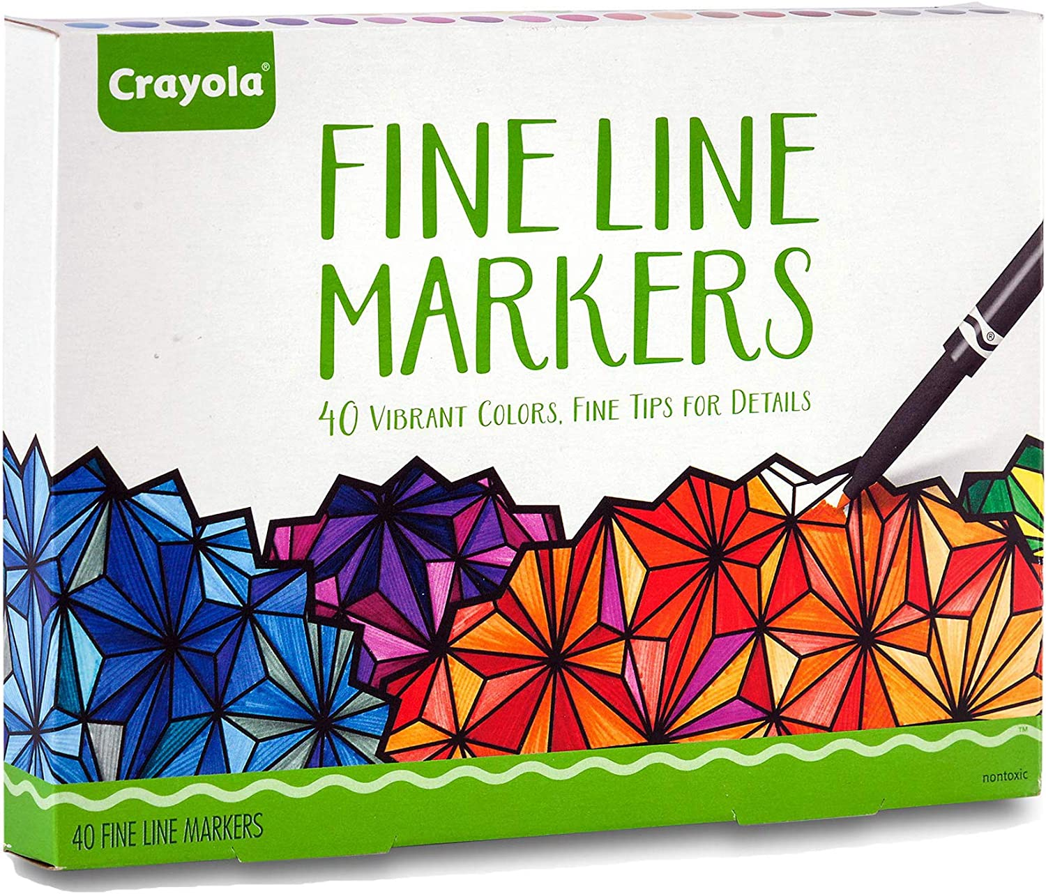 Crayola Fine Line Markers, Adult Coloring Set, Stocking Stuffers for Teens, 40 Count: Toys & Games