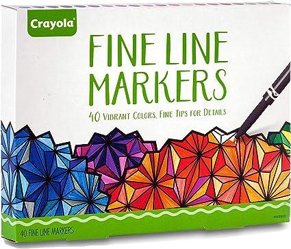 Crayola Fine Line Markers Adult Coloring Set, Kids Indoor Activities At Home, Gift, 40 Count