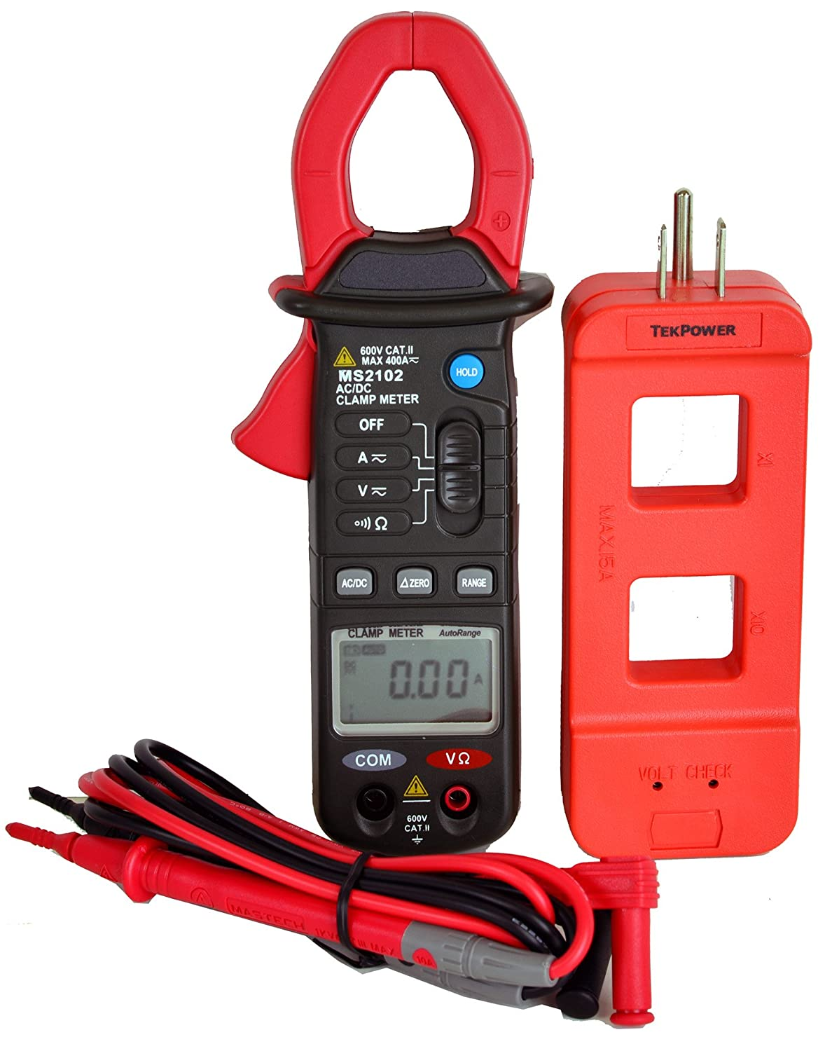 Mastech MS2102  3 3/4 Digits High Resolution and Accuracy Auto-ranging AC/DC Clamp on Meter with A Tekpower High Quality Wire Splitter KTCM0002102
