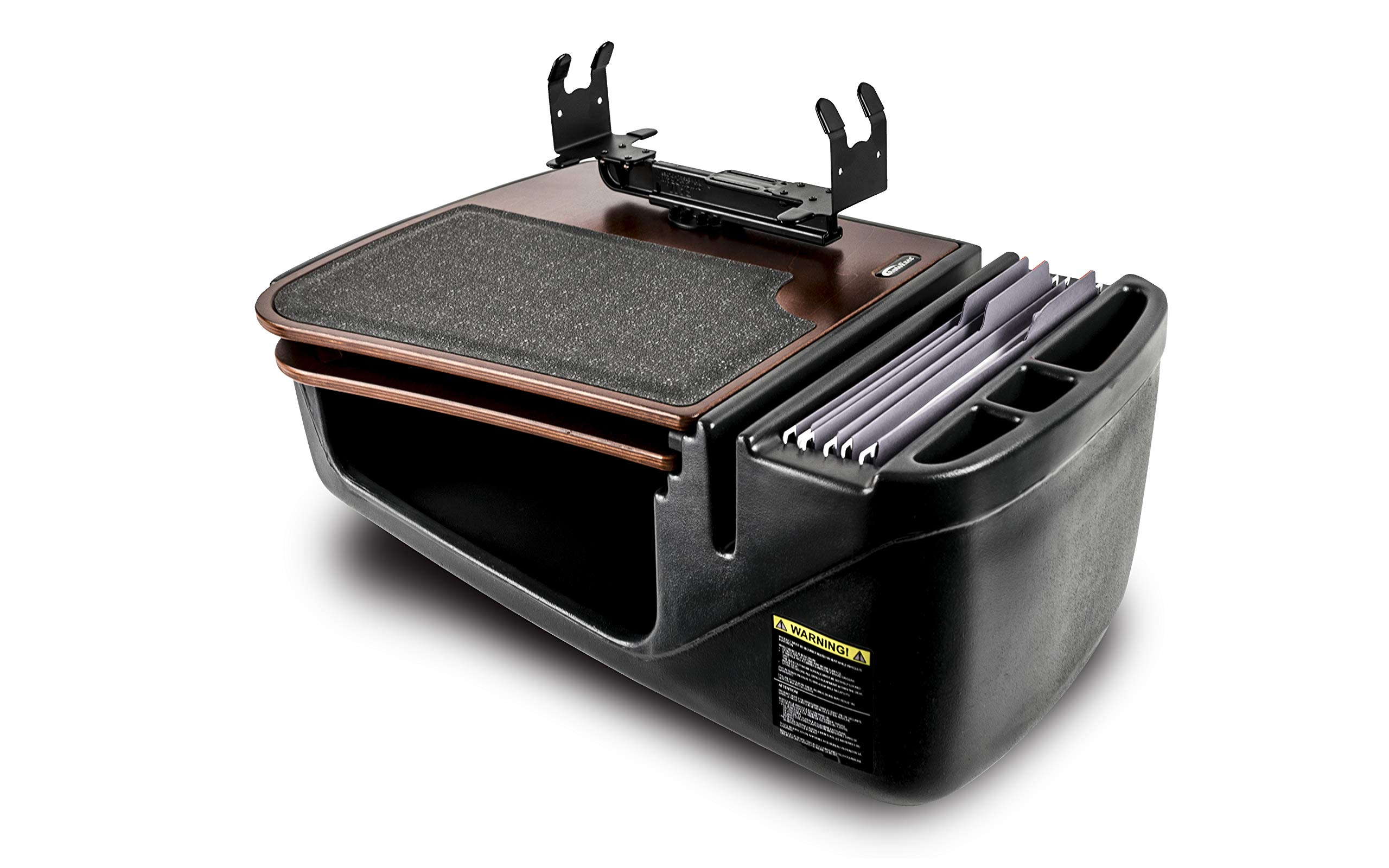 AutoExec AUE12059 GripMaster Car Desk (Mahogany Finish with Printer Stand and Built-in Power Inverter)