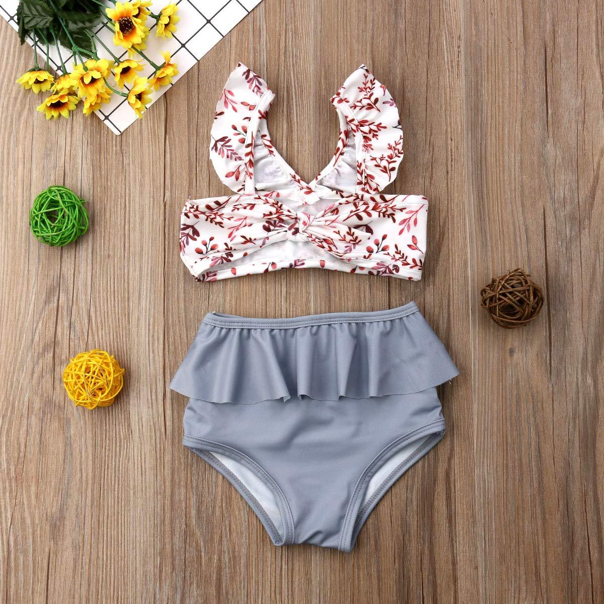 Toddler Baby Girl Swimsuit Stripe Sleeveless Halter Swimwear Bathing Suit Beachwear 2Pcs Summer Bikini Set