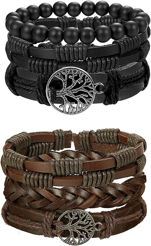 R/églable BESTEEL 6PCS Arbre de Vie Bracelet Cuir pour Hommes Femmes Tress/é Bracelet Wrap Perles de Bois Charmes Fait /à La Main