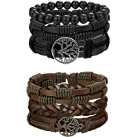 Besteel 6PCS Leather Bracelet Life Tree for Men Women Braided Bracelet Wrap Wood Beads Charms Handmade, Adjustable