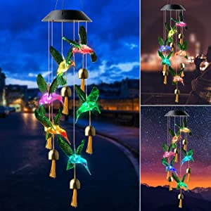 zhengshizuo Green Hummingbird Bell with Black Cover Hummingbird Solar Wind Chimes Bell Wind Chimes Outdoor Gifts for mom Hummingbird Gift Solar Wind Chimes Outdoor Decor