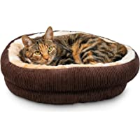 Pet Craft Supply Round Cat Bed - Cute and Comfortable Self Warming Plush Calming Cat Bed for Indoor Cats