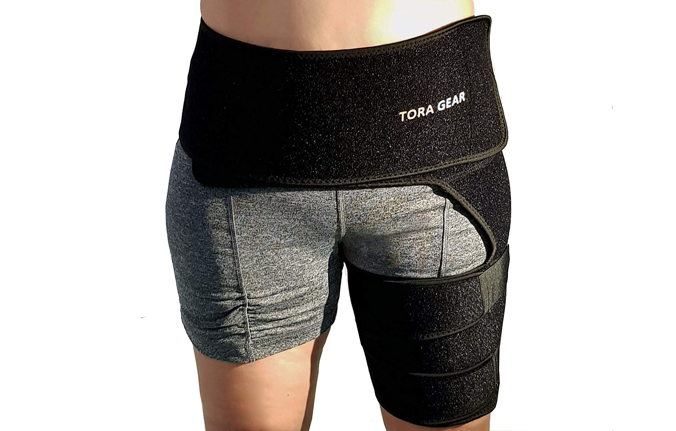 Groin and Hip Brace – Adjustable Compression Thigh Support – Provides Pain Relief to Sports Injuries, Hip Replacement Surgery, Sciatica, Hernia and Hamstring Discomfort by Tora Gear