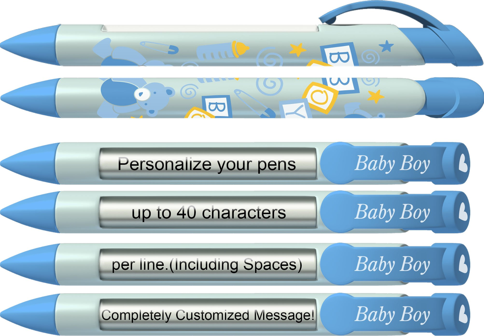 Baby Pen by Greeting Pen- Personalized Baby Shower Favor / Invitation and Birth Annoucement Pens - Baby Boy Blocks Rotating Message Pen 50 pack (P-BP-21-50)