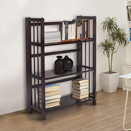 Casual Home 3-Shelf 27.5″ Wide Folding Stackable Bookcase