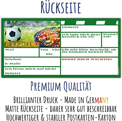 12er Set Fussball /& Grillen Einladungskarten mit Umschl/ägen Fu/ßball Einladungen f/ür BBQ Grill-Party Jungen M/ädchen Kindergeburtstag von BREITENWERK/®