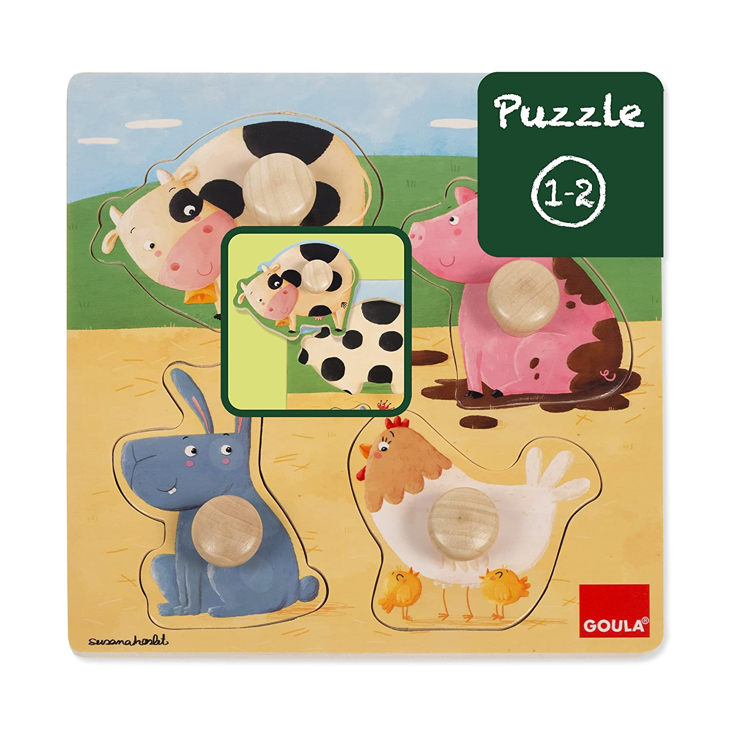 Goula Puzzle animales granja color Diset