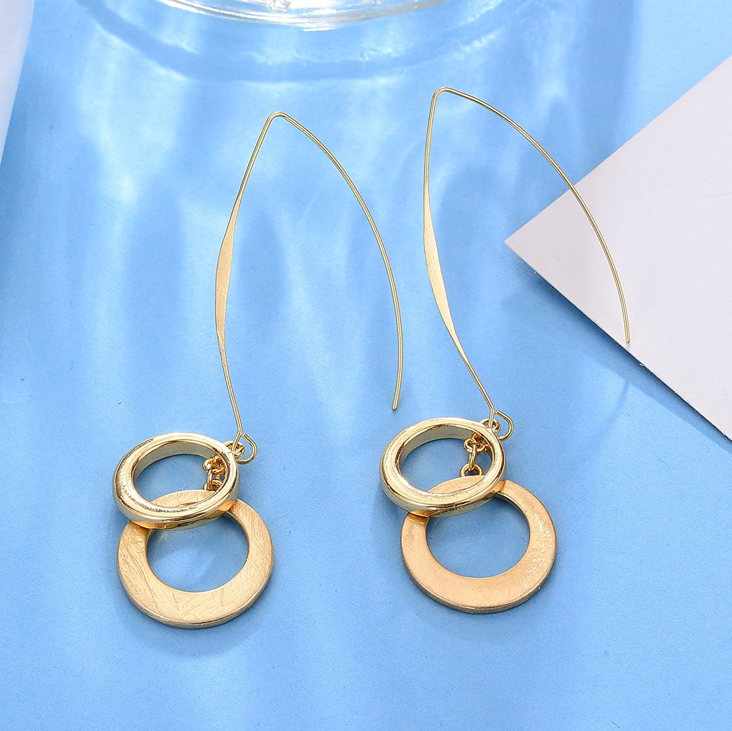 Exaggerate Long Fishhook with Round Pendant Gold and Silver Plated Drop Earrings