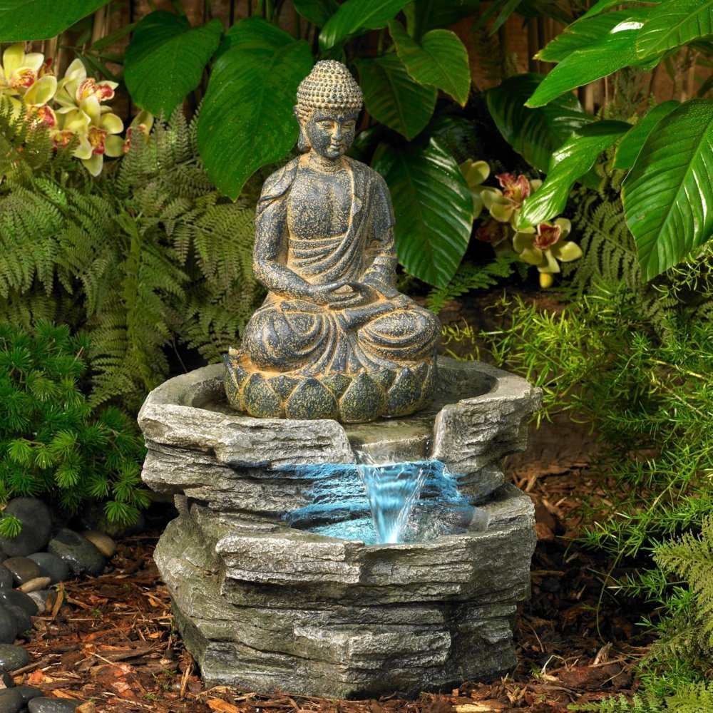Amazon sitting buddha 21 high led water fountain outdoor amazon sitting buddha 21 high led water fountain outdoor statues patio lawn garden dhlflorist Images