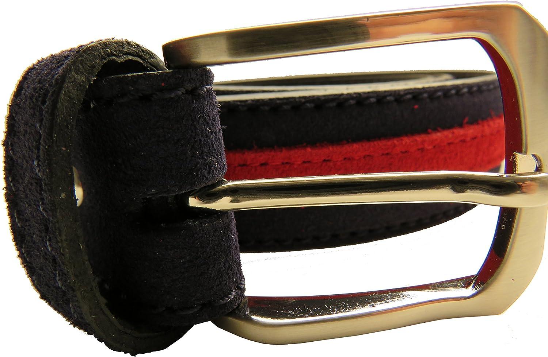 LEGADO Cinturón Hombre piel marino de cuero serraje marino tira ancha en rojo hecho en Ubrique CON PULSERA BANDERA ESPAÑA DE REGALO: Amazon.es: Ropa y accesorios