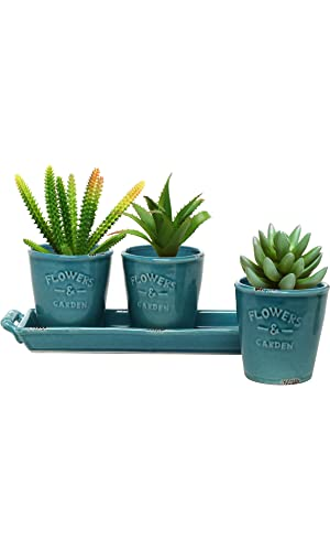 MyGift® Set of 3 Country Rustic Turquoise Ceramic Succulent Planters - Flower Pots & Handled Display Tray