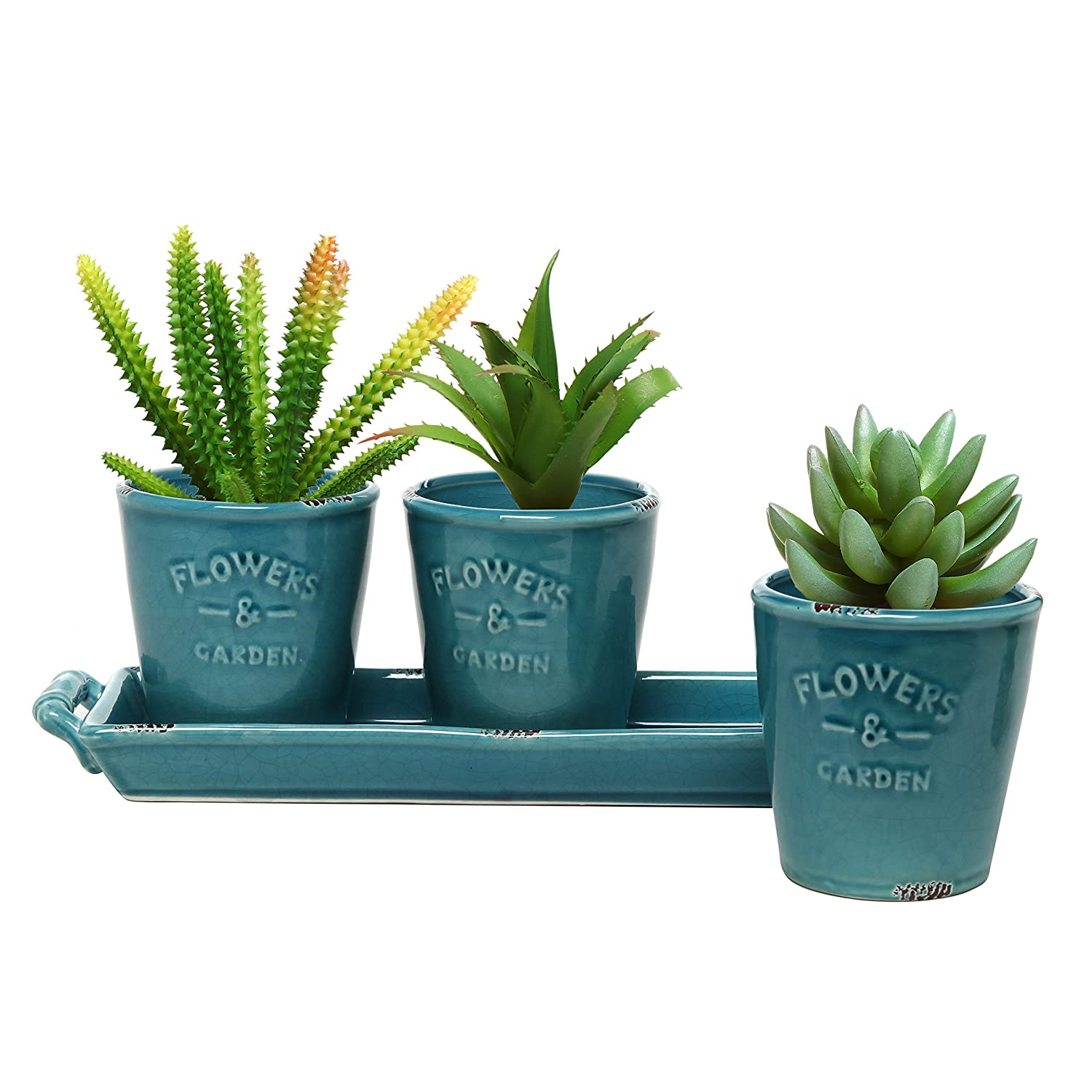 MyGift Set of 3 Country Rustic Turquoise Ceramic Succulent Planters Flower Pots Handled Display Tray