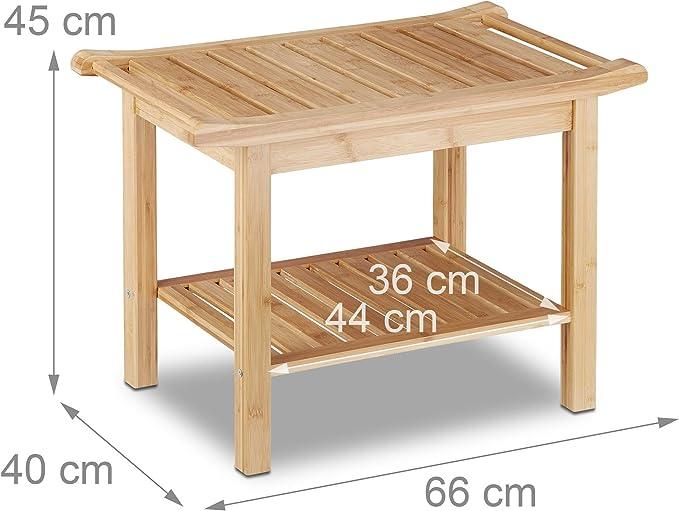 Relaxdays, 45 x 66 x 40 cm Taburete Baño con Balda, Bambú, Marrón ...