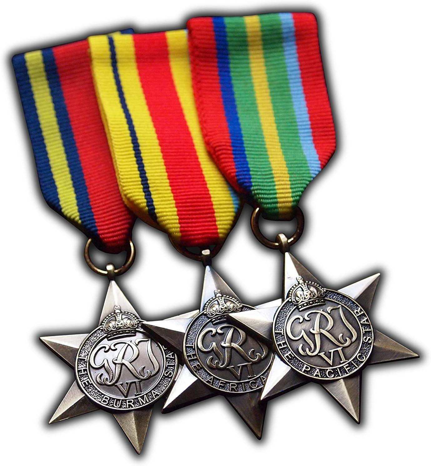 Juego de réplicas de medallas militares en forma de estrella Exotic Campaign + Estrella de África + Estrella de Birmania + Estrella del Pacífico: Amazon.es: Deportes y aire libre