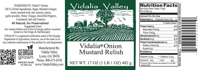 Amazon.com: Vidalia Valley Onion Mustard Relish, 17 Oz (Pack of 3) ALL  Natural, NO Preservative