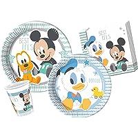 Ciao- Kit Mesa Fiesta Party Disney Baby Mickey & Donald para 24 Personas (112 Piezas), Color Azul, Blanco, 8 (Y4213)
