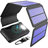 BLAVOR Solar Charger Five Panels Detachable, Qi Wireless Charger 20000mAh Portable Power Bank with Dual Output Type C Input F