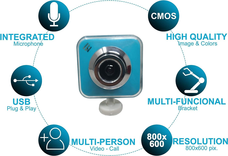 Degradado Webcam Pro USB 2.0 para PC y Ordenador Resoluci/ón 800x600 pix. C/ámara Web SD de Computadora port/átil Plug /& Play Micr/ófono Integrado para Videollamadas y Conferencias CMOS Imagen