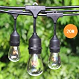 65.6 FT 20M Weatherproof Waterproof Outdoor String Lights with 20 Hanging Sockets - Festoon Lights Patio Lights - Black - 24 11 Watt S14 Dimmable Incandescent Bulbs Included