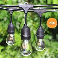 65.6 FT 20M Weatherproof Waterproof Outdoor String Lights with 20 Hanging Sockets - Festoon Lights Patio Lights - Black - 24 11 Watt S14 Dimmable Incandescent Bulbs Included