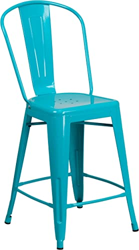 Flash Furniture Commercial Grade 24″ High Crystal Teal-Blue Metal Indoor-Outdoor Counter Height Stool Review