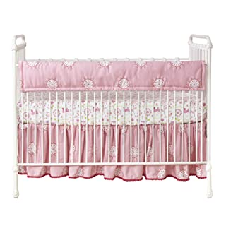 Happi by Dena Woodland Couture Floral Crib Rail Cover, Pink/White