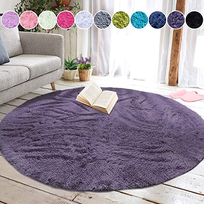 junovo Round Fluffy Soft Area Rugs for Kids Girls Room Princess Castle Plush Shaggy Carpet Cute Circle Nursery Rug for Kids Girls Bedroom Living Room Home Decor Small Circular Carpet, 4ft Gray-Purple