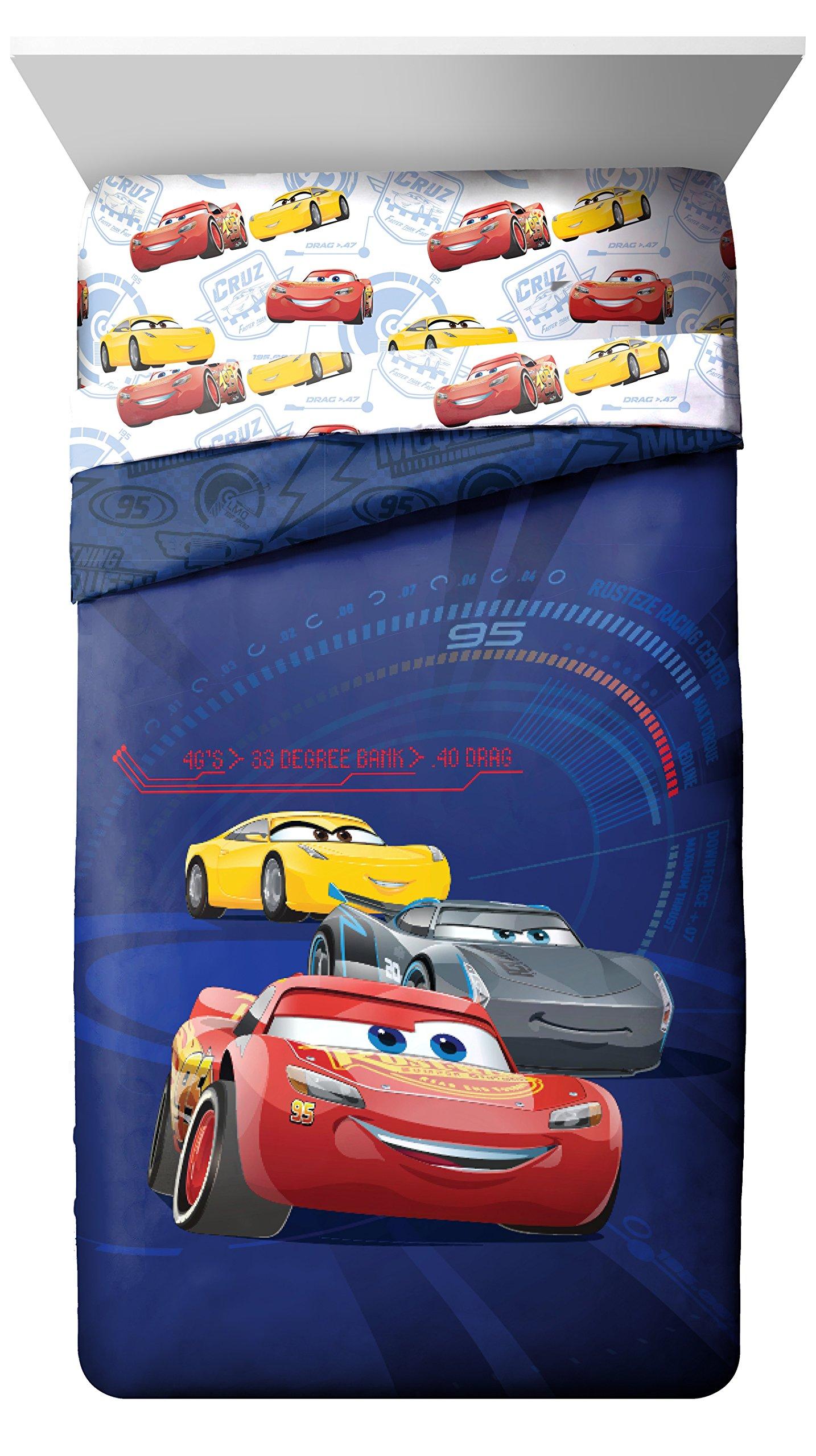 Disney Pixar Cars 3 High Tech Twin Comforter - Super Soft Kids Reversible Bedding features Lightning McQueen - Fade Resistant Polyester Microfiber Fill (Official Pixar Product)