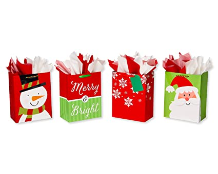 american greetings large christmas gift bags with tissue paper bundle 4 gift bags and 20