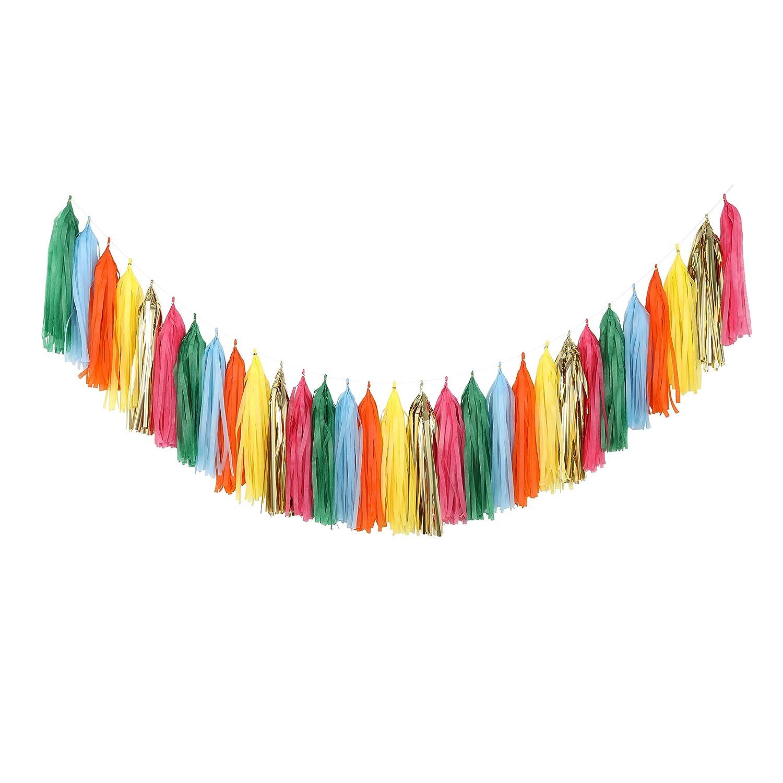 A08 Fonder Mols Mexican Fiesta Tassel Garland DIY Kit Papel Picado Decor Birthday Party Hanging Decorations Pack of 30, Red Gold Cerise Cream Green Blue Fushia