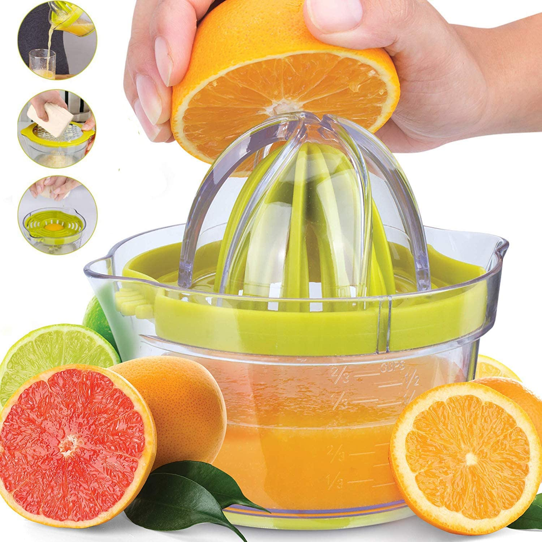 Monkey Home 4 in 1 Multi Function Citrus Juicer Lemon Manual Squeezer with Multi Size Reamers, Egg Yolk Separator, Ginger Garlic Grater, Large