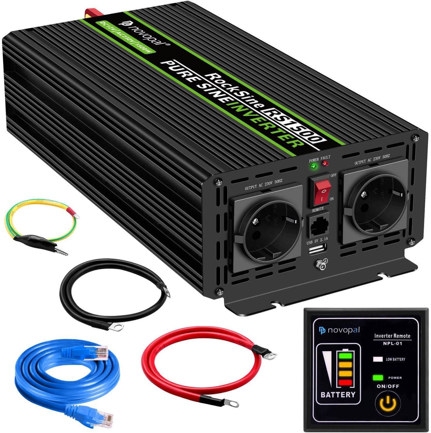 1500W convertidor de Voltaje de Onda sinusoidal Pura de Coche-convertidor de Coche 12v a 230v convertidor - convertidor de inversor con 2 enchufes EU y Puerto USB-Incl. Mando a Distancia de 5 Metros