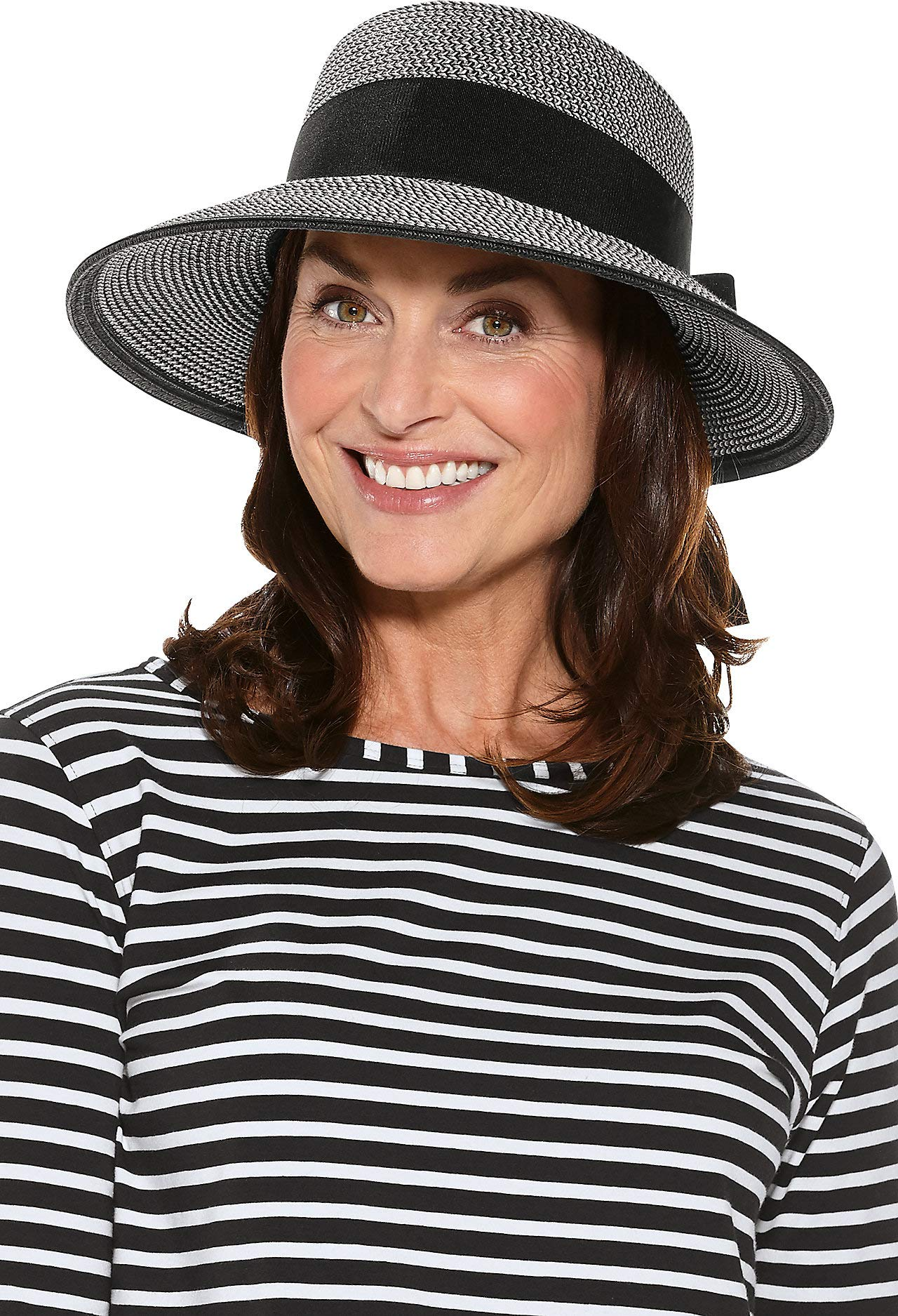 Coolibar UPF 50+ Women's Asymmetrical Clara Sun Hat - Sun Protective (One Size- Black/Ivory Colorblock)