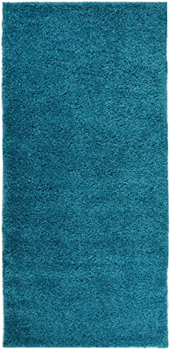 Solid Color New Shag Area Rug Rugs Shaggy Collection Turquoise Blue