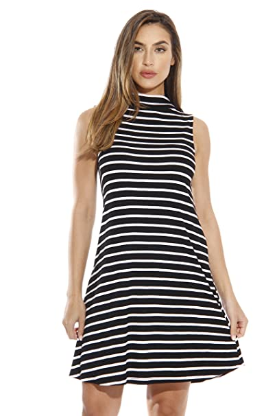 32c7288199d1 Just Love Striped Ribbed Mock Neck Summer Dress with A Line Cut at ...