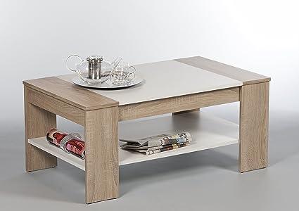 Finley Sonoma 172410 - Tavolino da salotto con 1 ripiano, colore:  rovere/bianco