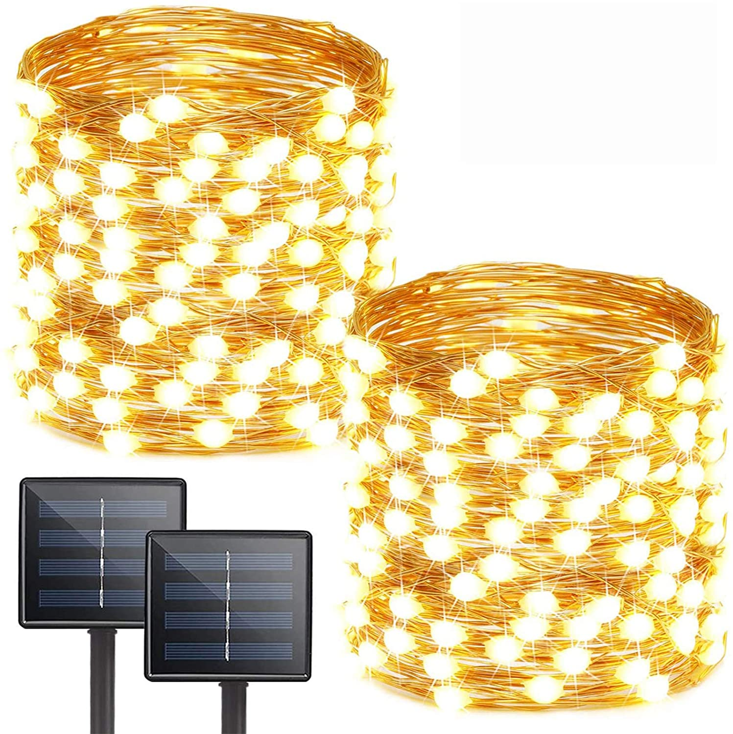 Albelt 2-Pack Each 72ft 200 LED Solar Lights Outdoor String (Ultra-Bright & Extra-Long), Upgraded Solar Christmas Lights, IP65 Waterproof Copper Wire 8 Modes Solar Powered Fairy Lights (Warm White)