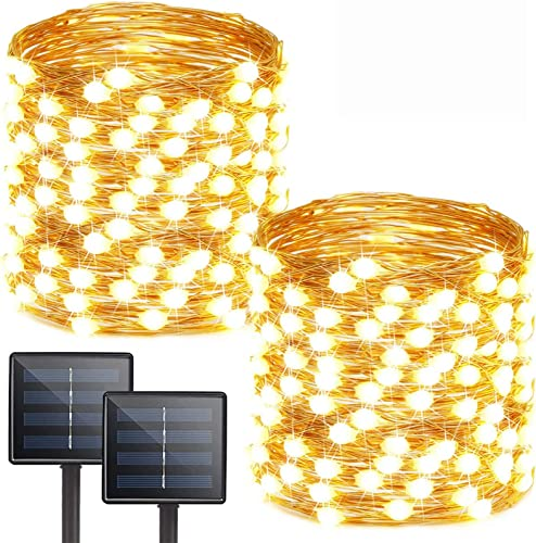 Albelt 2-Pack Each 72ft 200 LED Solar Lights Outdoor String Ultra-Bright Extra-Long , Upgraded Solar String Lights, IP65 Waterproof Copper Wire 8 Mode Solar Powered Fairy Lights Warm White