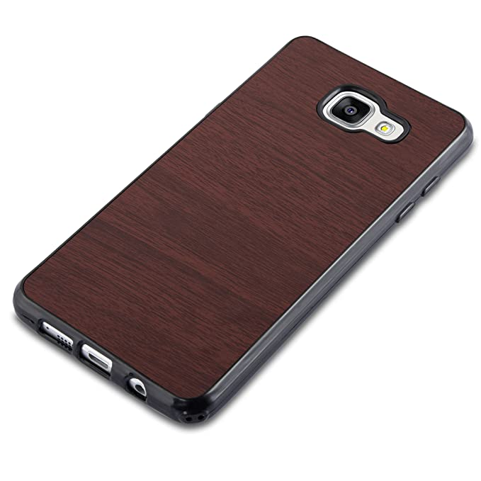 Cadorabo Case Works With Samsung Galaxy A3 2016 In Wooden Coffee – Shockproof And Scratch Resistant Tpu Silicone Cover – Ultra Slim Protective Gel Shell Bumper Back Skin by Cadorabo