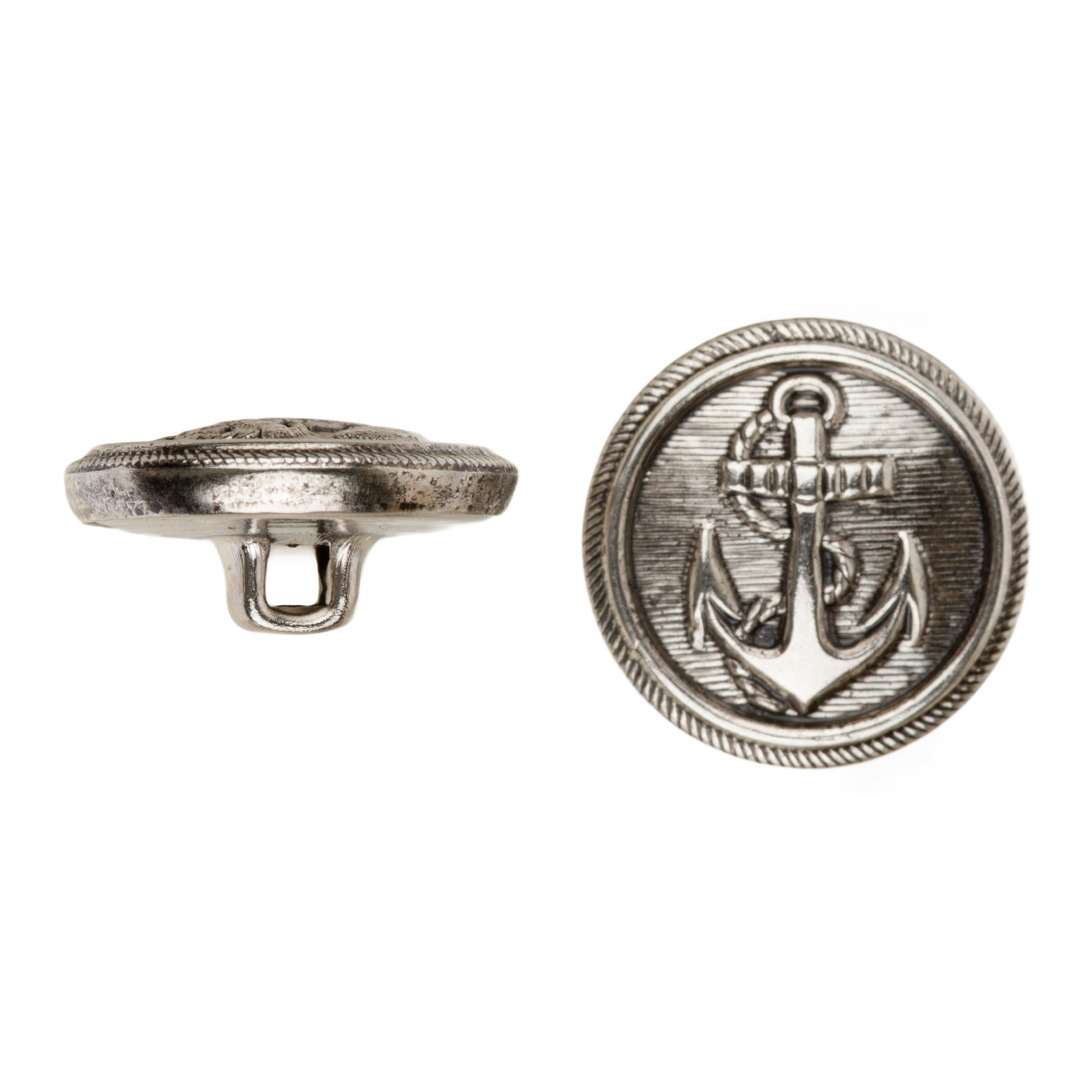 C&C Metal Products 5018 Anchor Metal Button, Size 36 Ligne, Antique Nickel, 36-Pack