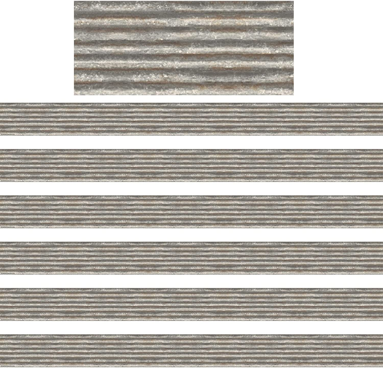 Unknown1 Home Sweet Classroom Corrugated Metal Border Trim 35 Ft Per Pk 6 Pks Silver Paper