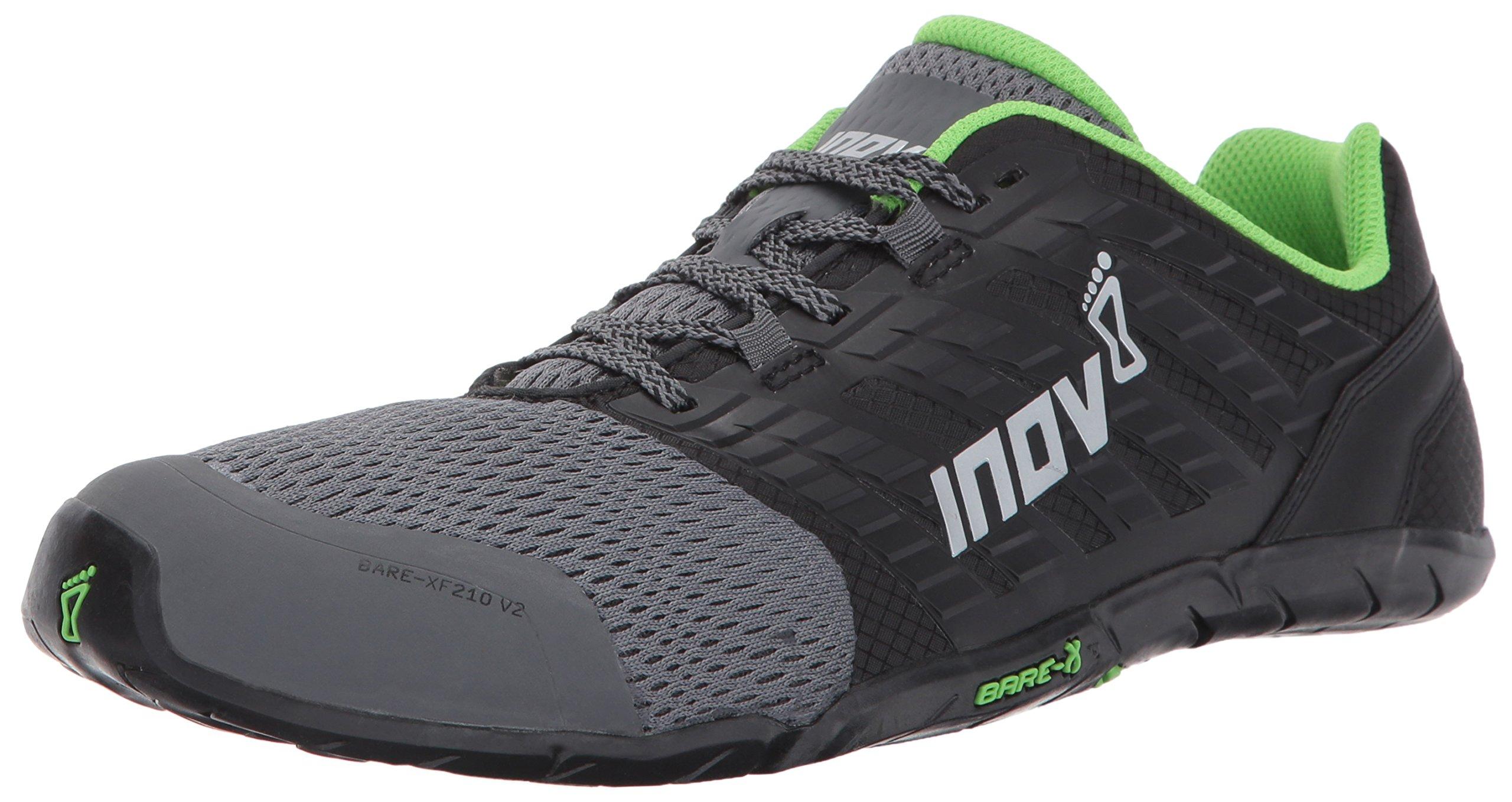 Inov-8 Men's Bare-XF 210 v2 (M) Cross Trainer, Grey/Black/Green, 10.5 D US
