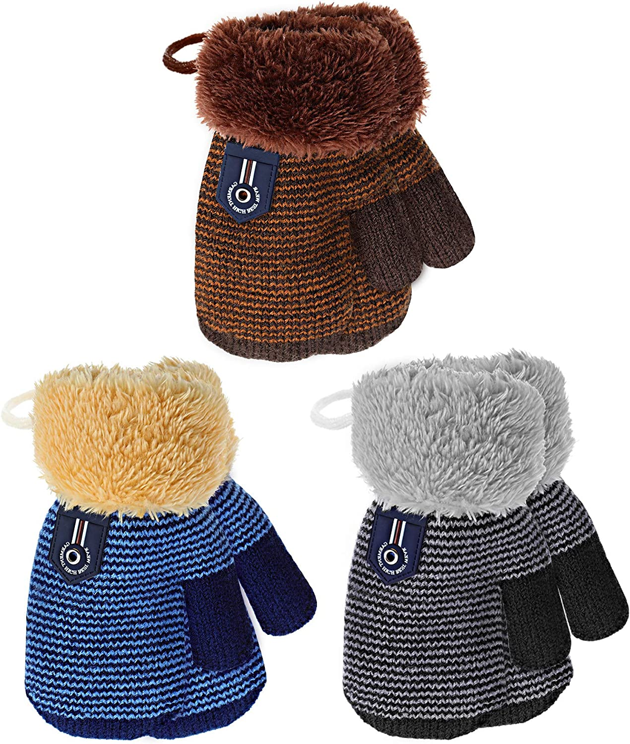 Newborn Size Blue Baby Mittens Winter Warm Knitted Mitts Boys Ribbed Gloves Girls Plain Knit Acrylic Mittens Colour 12 Months