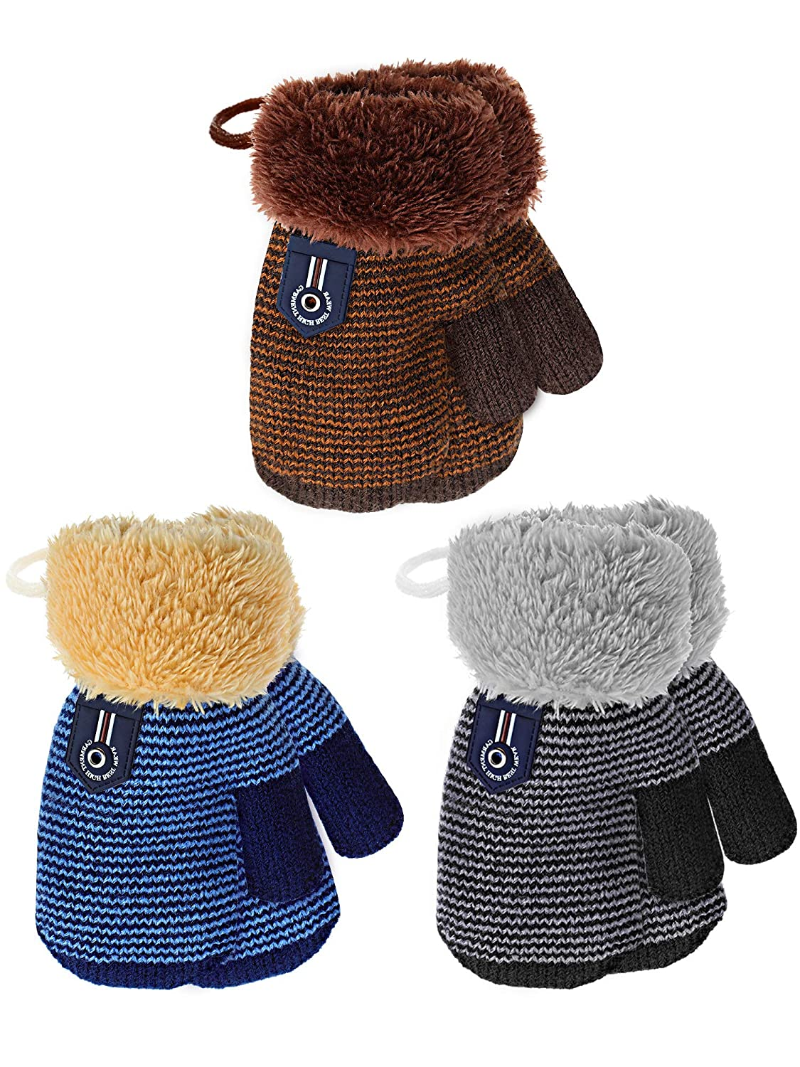 Zhanmai 3 Pairs Toddler Winter Mittens Gloves Baby Boys Girls Warm Gloves Infant Thicken Knit Mittens Kids Gloves Royal Blue Brown)