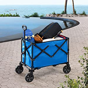 Sunjoy Odell Collapsible Folding Wagon Cart with Wheels, Blue